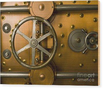 Tumbler Bank Vault Door Wood Print by Adam Crowley