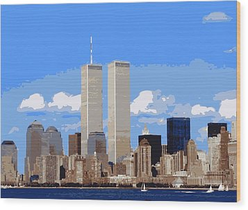 Twin Towers Color 16 Wood Print by Scott Kelley