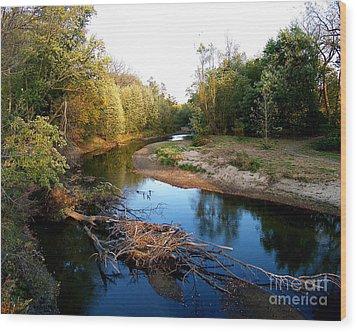 Twisted Creek Wood Print by Sue Stefanowicz