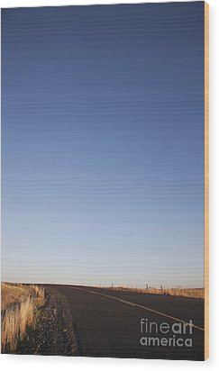 Two Lane Road Between Fields Wood Print by Jetta Productions, Inc