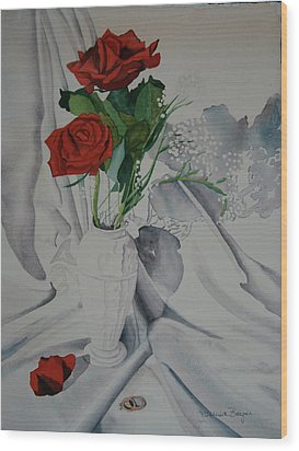 Wood Print featuring the painting Two Roses by Teresa Beyer