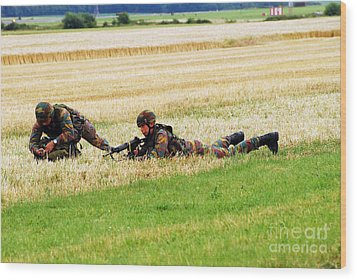 Two Soldiers Of The Belgian Army Wood Print by Luc De Jaeger