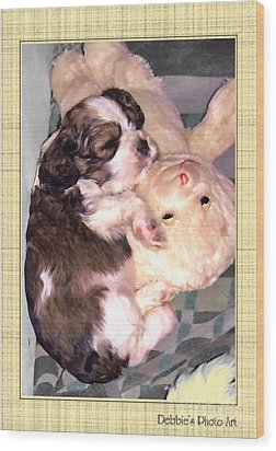 Two Stuffed Animals Wood Print by Debbie Portwood