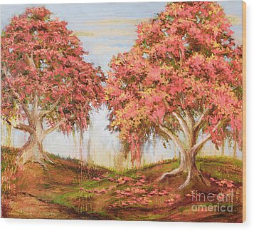 Under The Trees Wood Print by Vic  Mastis