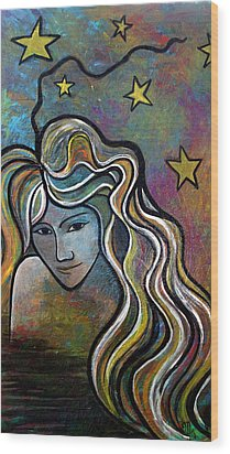 Wood Print featuring the painting Untitled Girl by Monica Furlow