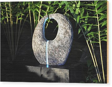 Untitled Glass And Rock Sculpture Wood Print by Tommy  Urbans