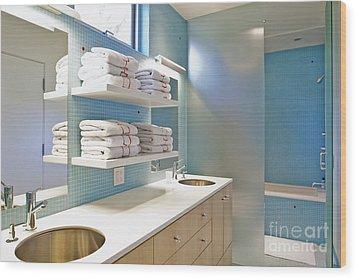Upscale Bathroom Interior Wood Print by Inti St. Clair