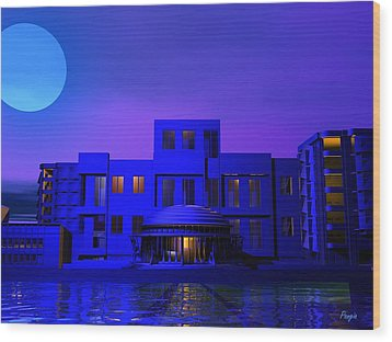 Wood Print featuring the digital art Urban Blue by John Pangia