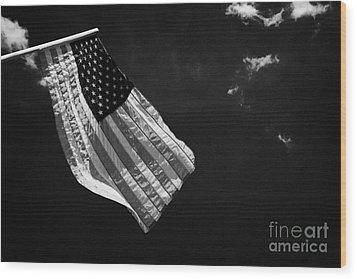 Us American Flag On Flagpole Against Blue Cloudy Sky Usa Wood Print by Joe Fox