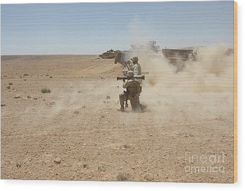 U.s. Marines Fire Several Wood Print by Stocktrek Images