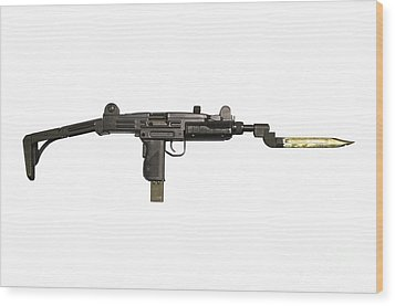 Uzi 9mm Submachine Gun With Attached Wood Print by Andrew Chittock