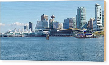 Vancouver Bc Waterfront Skyline Panorama. Wood Print by Gino Rigucci