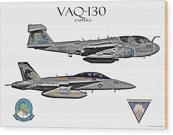 Vaq-130 Prowler And Growler Wood Print by Clay Greunke