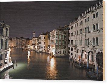 Venice By Night Wood Print by Joana Kruse