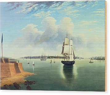 View Of New York From Bedloes Island Wood Print by Joseph B Pringle
