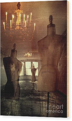 Vintage Dressforms With Abstract Grunge Background Wood Print by Sandra Cunningham