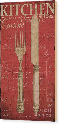 Vintage Kitchen Utensils In Red Wood Print by Grace Pullen