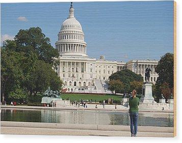 Washington Dc Capitol  Wood Print by Lissandra Melo