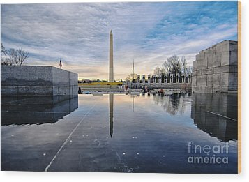 Washington Monument From The World War II Memorial Wood Print