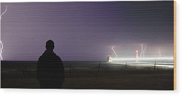 Watching A Lightning Storm Wood Print by Jeramie Curtice