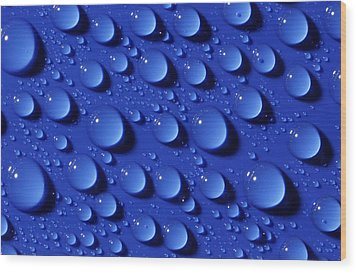 Water Droplets Wood Print by Courtesy Of Crown Copyright Fera