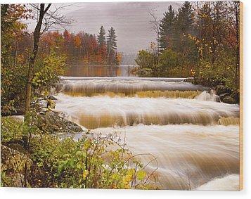Water Fall At Lefferts Pond Wood Print