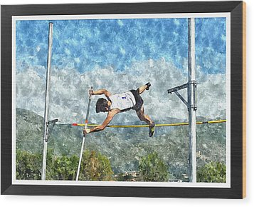 Watercolor Design Of Pole Vault Jump Wood Print by John Vito Figorito