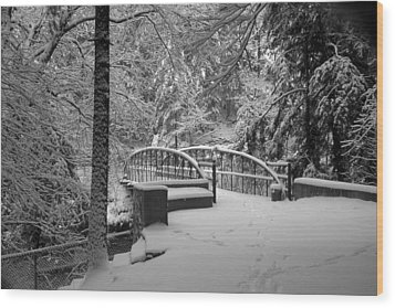 Watkins Glen Gorge Bridge In Winter 2 Wood Print