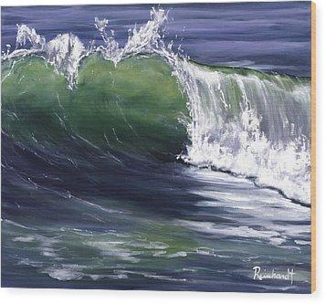 Wave 8 Wood Print by Lisa Reinhardt