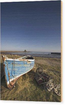 Weathered Fishing Boat On Shore, Holy Wood Print by John Short