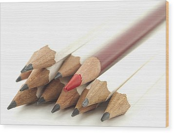 White And Red Pencils Wood Print by Blink Images