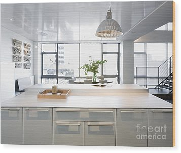 White Counters And Dining Area Wood Print by Andersen Ross