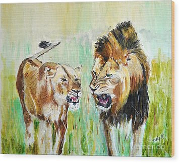 Wood Print featuring the painting wild Kingdom by Judy Kay