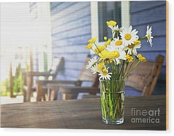 Wildflowers Bouquet At Cottage Wood Print by Elena Elisseeva