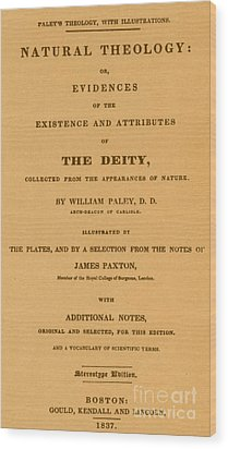 William Paleys, Natural Theology Wood Print by Science Source