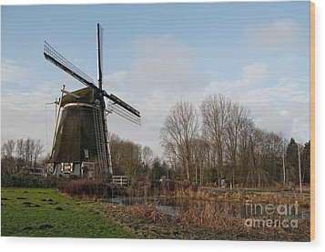 Wood Print featuring the digital art Windmill In Amsterdam by Carol Ailles