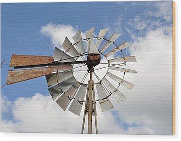 Windmill Wood Print by Teresa Blanton