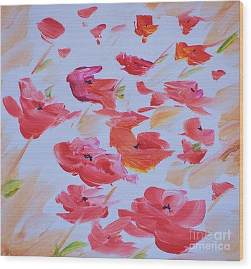 Windy Poppies No. 1 Wood Print by Barbara Tibbets