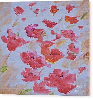 Windy Poppies No. 1 Wood Print