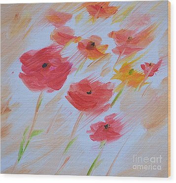 Windy Poppies No. 2 Wood Print by Barbara Tibbets