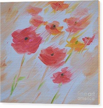 Windy Poppies No. 2 Wood Print