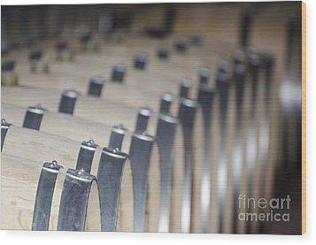 Wine Barrels In Line Wood Print by Mats Silvan
