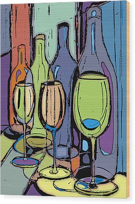Wine Bottles And Glasses IIi Wood Print by Peggy Wilson