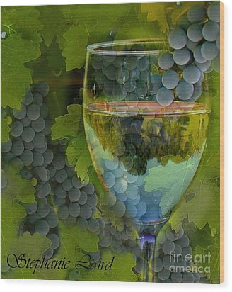 Wine Glass Wood Print by Stephanie Laird
