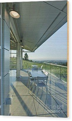 Wine Tasting Balcony Wood Print by Rob Tilley
