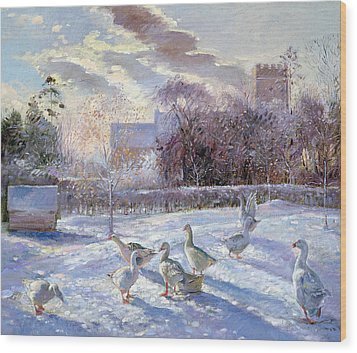 Winter Geese In Church Meadow Wood Print by Timothy Easton