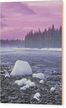 Winter Sunset On Bow River, Banff Wood Print by Darwin Wiggett