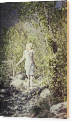 Woman In A Forest Wood Print by Joana Kruse