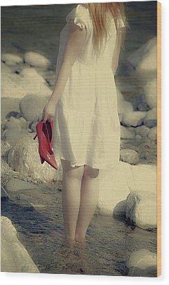 Woman In A River Wood Print by Joana Kruse