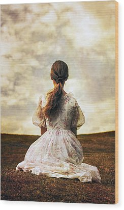 Woman On A Meadow Wood Print by Joana Kruse